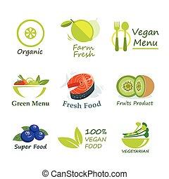 plat, organique, sain, étiquette, nourriture, conception