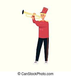 plat, parade, fête, jeune, jouant musique, déguisement, trompette, style., homme