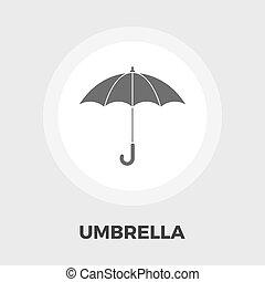 plat, parapluie, icône