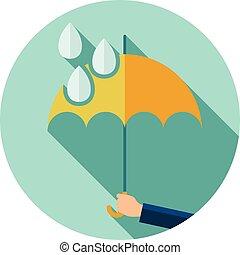 plat, parapluie, protection, symbole, pluie, vecteur, gouttes