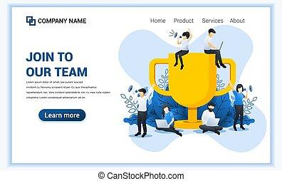 plat, partenaires, vecteur, grand, réussi, trophée, members., concept., toile, bannière, joindre, illustration, work., équipe, business, regarder, nouveau, gens, notre