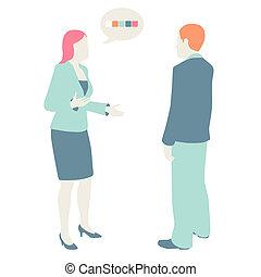 plat, pastel, hommes, couleurs, communiquer, conception, femmes