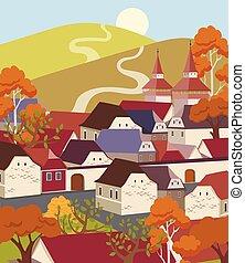 plat, paysage, ville, vieux, dessin animé, coloré
