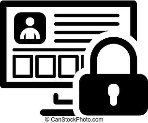 plat, personnel, protection, icon., données, design.