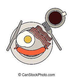 plat, petit déjeuner américain