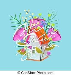 plat, peu, doux, illustration, vecteur, petite maison, maison, fleurs