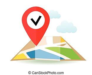 plat, pin., carte, map., marqueurs, vecteur, emplacement, icon., indicateur