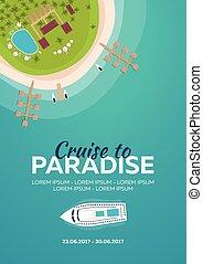 plat, plage., business., exotique, vecteur, cruise., croisière, paradise., bannière, ton, mieux