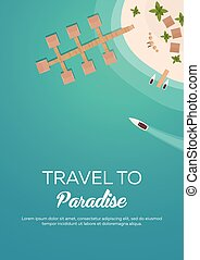 plat, plage., coloré, voyage, business., exotique, vecteur, cruise., paradise., bannière, ton, mieux