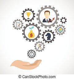 plat, planification, stratégie, business, icône