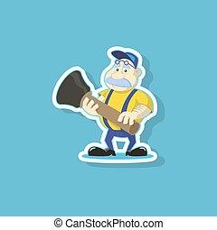 plat, plombier, art, mignon, illustration, vecteur, plongeur, dessin animé