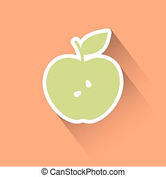 plat, pomme, icône