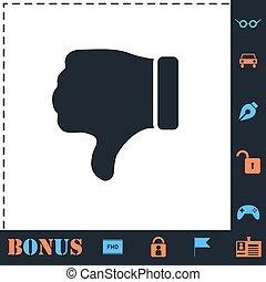 plat, pouce, main, bas, aversion, icône