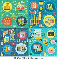plat, produit, development., finance, réussi, set., concepts, idée, business, collaboration, analyse, branché, frais, technologie