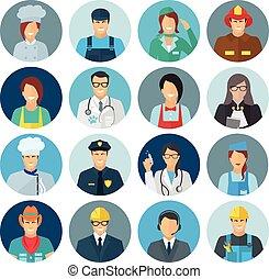 plat, profession, avatar, icône