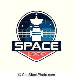 plat, project., emblème, satellite., technology., espace, science, autocollant, contour, cosmique, créatif, t-shirt, ou, vecteur, conception, impression, logo, astronautique, style., icône