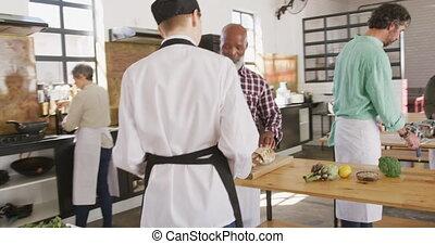 plat, projection, légumes, chef cuistot