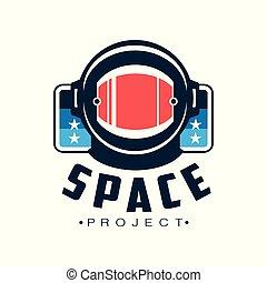 plat, protecteur, emblème, scientifique, espace, astronaut's, helmet., voyage, cosmique, impression, mobile, vecteur, projet, logo, conception, app, inscription., ou, autocollant