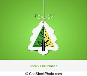 plat, résumé, moderne, arbre, pin, conception