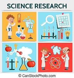 plat, recherche, science, concept