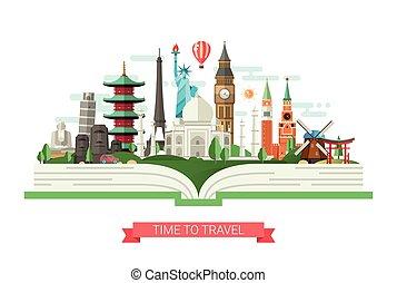 plat, repères, illustration, célèbre, livre, conception, mondiale