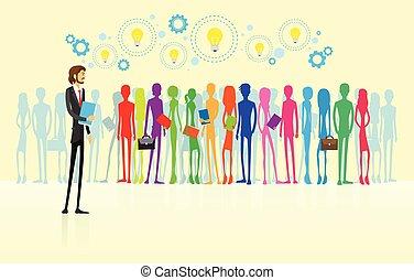 plat, ressource, professionnels, conception, hommes affaires, humain, groupe, éditorial