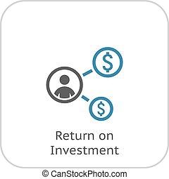 plat, retour, business, concept., icon., investissement, design.