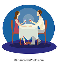 plat, romantique, famille, valentines, isolé, illustration, dîner.