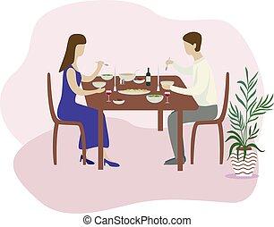 plat, romantique, famille, valentines, isolé, illustration, vecteur, dîner.