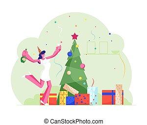 plat, santa, bureau, danse, dessin animé, joyeux, femme, année, gai, vecteur, célébration, fête, noël, décoré, champagne, verre vin, bouteille, heureux, arbre, noël, illustration, chapeau, célébrer, nouveau