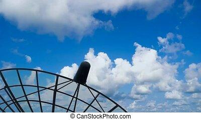 plat, satellite, genoux, nuage, temps