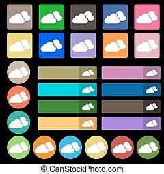plat, sept, ensemble, nuages, vingt, signe., multicolore, vecteur, icône, buttons.