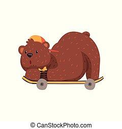 plat, skateboarder, tie., brun, grisonnant, casquette, skateboard, ours, claws., petit, vecteur, conception, mensonge, équitation animale, sauvage, position., pattes, fourrure, arc, oreilles