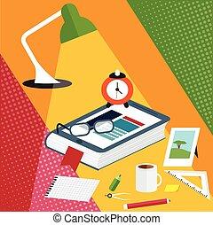 plat, smartphone, formulaire, illustration, bureau, vecteur, conception, créatif, livre