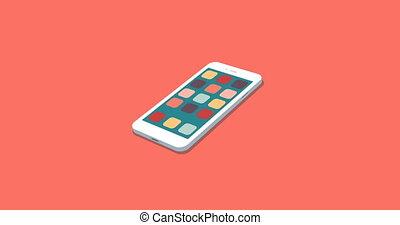 plat, smartphone, icônes, app, mouvement, ensemble, fond