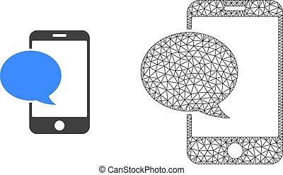 plat, smartphone, maille, polygonal, vecteur, message, icône