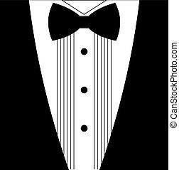 plat, smoking, arc, cravate noire, blanc