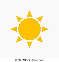 plat, soleil, icône