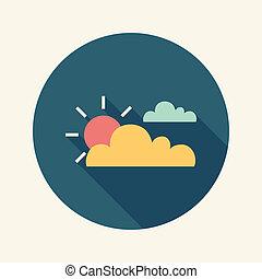 plat, soleil, long, ombre, nuage, icône