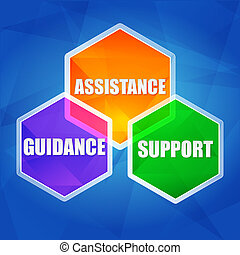 plat, soutien, assistance, direction, hexagones, conception