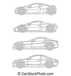 plat, sport, contour, voiture, vecteur, muscle, dessin, rouges, icône