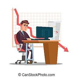 plat, statistique, room., commerçant, caractère, isolé, illustration, triste, investissement, purposes., malheureux, spread., bureau, homme, dessin animé, rapports, vector.
