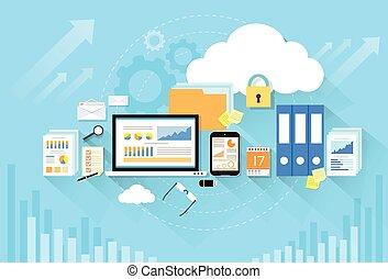 plat, stockage, informatique, conception, appareil, sécurité, données, nuage