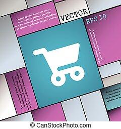 plat, style, achats, signe., moderne, vecteur, panier, icône, ton, design.
