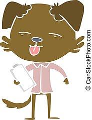 plat, style, agrafe, couleur, chien, planche, dessin animé