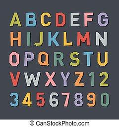 plat, style, alphabet., couleur, vecteur, dessin animé