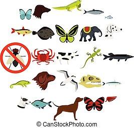plat, style, animaux, icônes, ensemble, sauvage