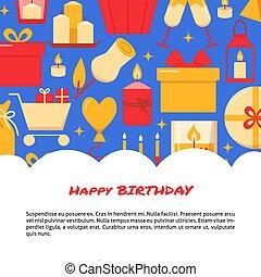 plat, style, anniversaire, gabarit, célébration, bannière, heureux