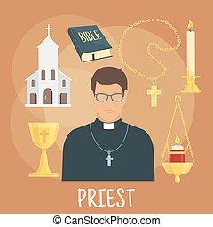 plat, style, catholique, symboles, prêtre, religieux