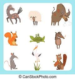 plat, style, ensemble, animaux, conjugal, illustration, vecteur, sauvage